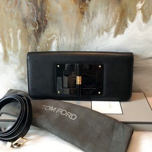 Tom Ford Black Natalia East West Clutch Strap Bag